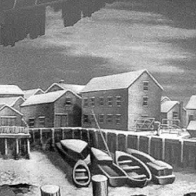 Slumbering Harbor by Samuel L. Margolies, Etching 1950