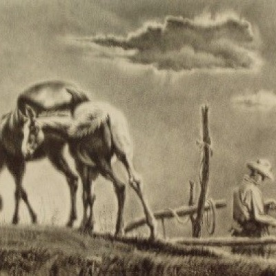 Mare and Colt by Georges Schreiber, 1952 Lithograph