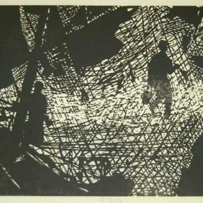 The Nets by Seong Moy, Woodcut 1963