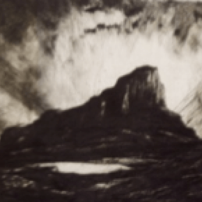 The Scuir of Eigg by Sir David Young Cameron, Drypoint 1931 Etching