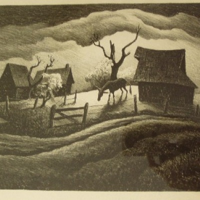 Rainy Day by Thomas Hart Benton, Lithograph 1938